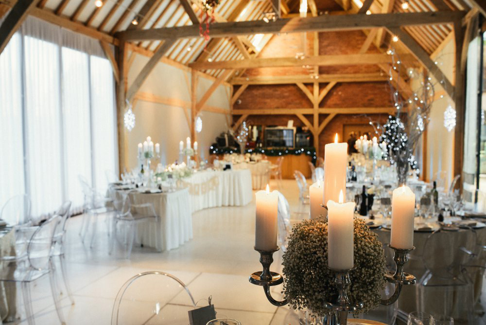 Lovely use of candelabras and Gypsophelia